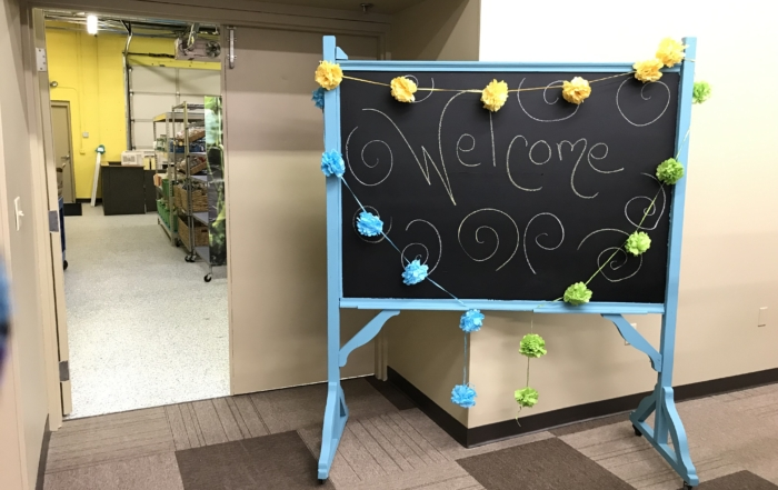 Welcome sign at the Burnsville Food Shelf