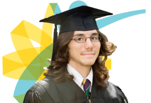 Student in graduation hat and gown in front of 360 logo